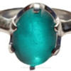 """A  closeup of the sea glass in this ring shows you the telltale """"C""""'s that let you know it is Genuine Beach found Sea Glass."""