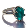 Natural UNALTERED Deep Electric Aqua Sea Glass Ring In Sterling  - Size 8 (Re-Sizeable)