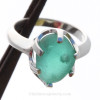 Tropical Bubbles - Aqua Sea Glass Ring In Sterling  - Size 8 (Re-Sizeable)