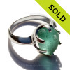 azing sea glass from Seaham England in a solid sterling ring in a  true vivid electric aqua green with internal bubbled.