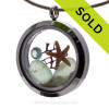 March By The Sea - Genuine Seafoam Green Sea Glass, Starfish & Aquamarine Gem SOLD - Sorry this Sea Glass Jewelry selection is NO LONGER AVAILABLE!