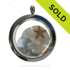 """Pretty Pastel of Light Blue and Aqua inside this crystal and stainless steel locket combined with real baby Sandollar, starfish and an quality CZ or """"diamond"""" crystal gem. SOLD - Sorry this Sea Glass Jewelry selection is NO LONGER AVAILABLE!"""