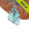 A stunning PERFECT Genuine Electric Aqua Sea Glass Pendant set in our secure Triple Wire  setting in Sterling Silver.
