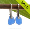 Petite and PERFECT Simply Elegant Petite Genuine Blue Sea Glass Earrings on Solid Sterling Leverbacks