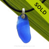 LARGE & Long Ridged Blue Natural Sea Glass Necklace Set On Silver Bail With Black Neoprene Cord