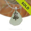 """Smaller Seafoam Green Sea Glass Necklace with Sterling Silver Sea Turtle Charm - 18"""" Solid Sterling Chain INCLUDED"""