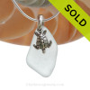 "Smaller Pale Aqua Green Sea Glass Necklace with Sterling Silver Sea Turtle Charm - 18"" Solid Sterling Chain INCLUDED"