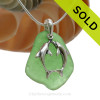 "Large Green sea glass set on a Solid Sterling Cast bail with a Sterling Silver Kissing Dolphins Charm -  18"" Quality Chain INCLUDED!"