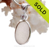 """Spring Bling - PERFECT Genuine Peach English Sea Glass In Sterling Silver Deluxe Wire Bezel Wire© Setting and a Premium """"Diamond"""""""