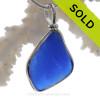 Larger Cobalt Blue Sea Glass Pendant In Sterling Original Wire Bezel©