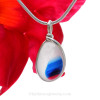 A stunning piece of red (or pink) white and vivid blue beach found art glass from Seaham England set in our Original Wire Bezel© setting in silver.