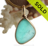 Aqua Haze - RARE Aqua Green Flashed Seaham Sea Glass Pendant In Gold Wire Bezel©