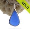 Thin Triangle of Cobalt Blue English Sea Glass Pendant In Sterling Original Wire Bezel©