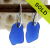 Large and Nice Petite Genuine beach found Sea Glass Earrings of blue on Sterling Deco Hooks