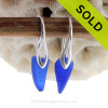 Small Triangles of Beach Found Cobalt Blue Sea Glass Earrings On Silver Silver Deco Hooks