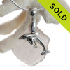 """Mother and Child - Pale Peach Sea Glass With Sterling Silver Dolphins Charm - 18"""" STERLING CHAIN INCLUDED"""