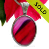 HUGE SUPER SUPER ULTRA ULTRA RARE Mixed Hot Pink & Purple Multi Sea Glass Pendant In Deluxe Wire Bezel Setting©