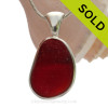 HUGE & RARE Crizzled Ruby Red Seaham Sea Glass Pendant In Deluxe Wire Bezel© In Sterling Silver