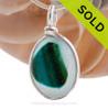Tropical Heart -  ULTRA ULTRA RARE Teal, Green & Pale Blue Multi Sea Glass Pendant In Original Wire Bezel Setting©