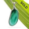 Tropical Spring -  ULTRA RARE Teal Green & Aqua Multi Sea Glass Pendant In Original Wire Bezel Setting©
