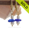 Classic and Vivid Cobalt Blue Sea Glass on 14K Goldfilled Leverbacks & AAA Grade Pearls