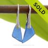 Longer Simply Elegant Petite Genuine Blue Sea Glass Earrings on Solid Sterling Leverbacks