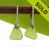 Simply Elegant -  RARE Natural Beach Found Chartreuse Green Green Sea Glass Earrings On Silver Silver Leverbacks