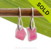 GENUINE ULTRA RARE Flased Pink Simply Sea Glass Earrings On Silver Deco Earwires