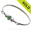 Bright Aqua Green Seaham Sea Glass Premium Bangle Bracelet In Solid Sterling With Pearls (SB11255)