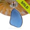 L-A-R-G-E Medium Blue Genuine Sea Glass In Solid Sterling Deluxe Wire Bezel© Pendant