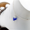 Stunning Rare And Lucky Cobalt Blue sea glass combined with AAA grade Freshwater Pearls on a simple Sterling Silver Anklet.