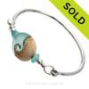 Genuine Hawaiian Aqua Sea Glass Sterling Premium Bangle Bracelet With Lampwork Glass Wave Bead