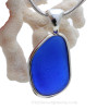 Cobalt Blue Genuine Sea Glass Bottle Bottom In Deluxe Wire Bezel© Pendant