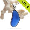 Long Irregular Cobalt Blue Genuine Sea Glass Pendant In Deluxe Wire Bezel© in Solid Sterling Silver
