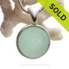 Sea World - Smaller Genuine Beach Found Seaglass Codd Marble In Deluxe Wire Bezel© Necklace Pendant