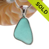 Summery Bold & Thick Aqua Green Natural Sea Glass Deluxe Sterling Bezel© Setting