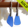 Larger Simply Elegant Genuine Blue Sea Glass Earrings on Solid Sterling Leverbacks
