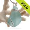 L-A-R-G-E and Thick Aqua Sea Glass Sterling Triple WIre Setting Necklace Pendant