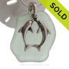 "LARGE Seafoam Green Genuine Sea Glass With Sterling Silver Large Kissing Dolphins Charm - 18"" STERLING CHAIN INCLUDED"