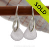 Genuine Pale Lavender Sea Glass Earrings on Solid Sterling Deco Hooks
