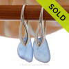 PERFECT Small arolina Blue Sea Glass Earrings on Solid Sterling Deco Hooks