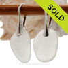 Larger White Genuine Sea Glass Earrings on Solid Sterling Leverbacks