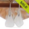 LARGE White Genuine Sea Glass Earrings On Silver Silver Deco Hooks