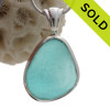 Vivid and Thick Electric Tropical Aqua Natural Sea Glass Deluxe Sterling Bezel© Setting