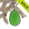 ELECTRIC  Green Genuine Sea Glass In Sterling Deluxe Wire Bezel© Pendant Setting