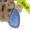 Perfect Medium Blue Sea Glass In Tiffany Deluxe Wire Bezel© Necklace Pendant