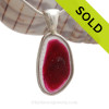 LARGE Fuchsia or Hot Pink Sea Glass Pendant In S/S Deluxe Wire Bezel©