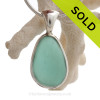 Silky Tropical Aquamarine Genuine Sea Glass Pendant In Tiffany Deluxe Wire Bezel Setting©