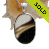 Hidden Harbor - H-U-G-E ULTRA RARE Mixed Brown & White Multi Sea Glass Pendant In Deluxe Wire Bezel Setting©