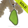 Lovely Chartreuse Lime Green Sea Glass Pendant in our Deluxe Sterling Silver Bezel Setting.
